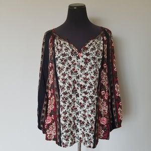 Lucky Brand Floral Print Peasant Top